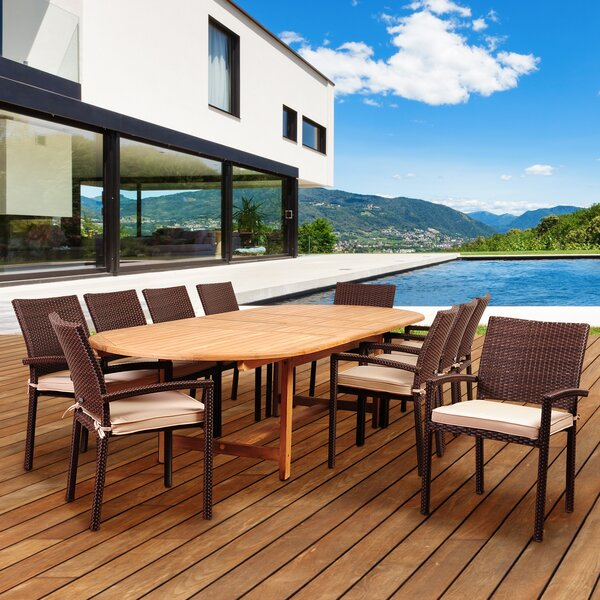 Arango 11 Piece Teak Dining Set with Sunbrella Cushions by Beachcrest Home