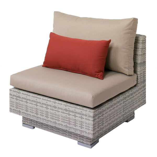 Meleri Patio Wicker Middle Chair with Sunbrella Cushion by Longshore Tides