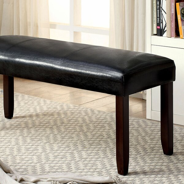 Mingus Leather Bench by Alcott Hill