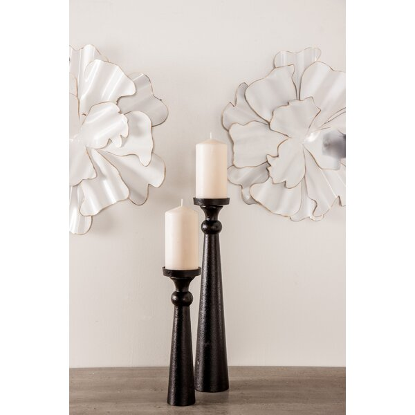 Traditional Segmented 3 Piece Metal Candlestick Set by Union Rustic