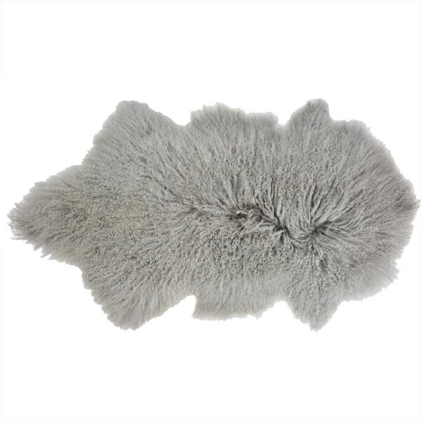 Arkose Shaggy Sheepskin Light Gray Area Rug by Foundry Select