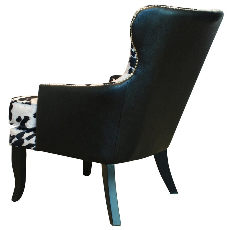 Faux Cowhide Accent Wingback Chair