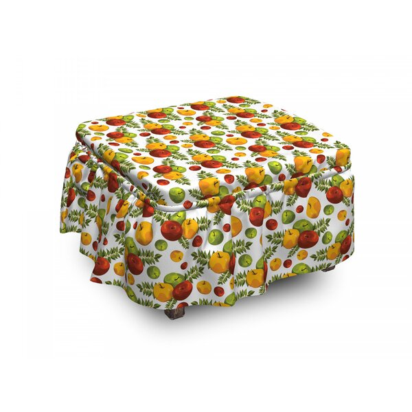 Apple Autumn Harvest Season 2 Piece Box Cushion Ottoman Slipcover Set By East Urban Home