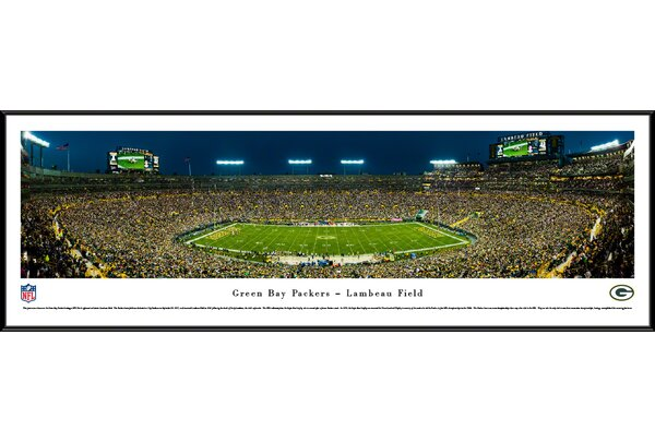 NFL Green Bay Packers 50 Yard Night Framed Photographic Print by Blakeway Worldwide Panoramas, Inc