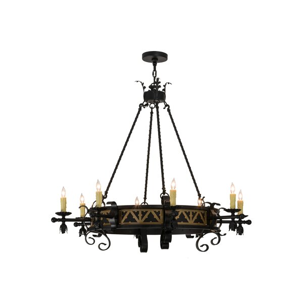 Mexborough 8 - Light Candle Style Wagon Wheel Chandelier by Astoria Grand Astoria Grand