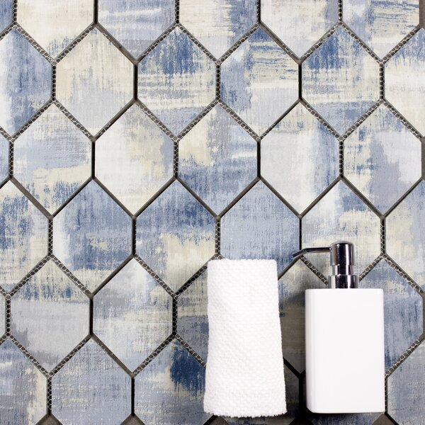 Nature Honeycomb 3.5 x 5.13 Glass Mosaic Tile in Cement Blue/Gray by Abolos