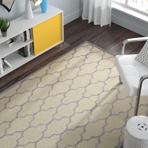 Charlenne Hand-Woven Wool Ivory/Silver Area Rug by Zipcode Design