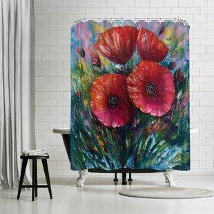 OLena Art Red Poppies Shower Curtain ByEast Urban Home
