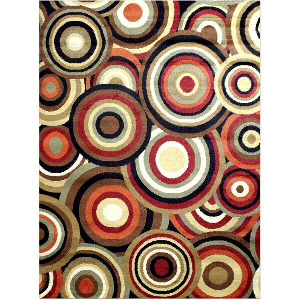 Darcelle Geometric Red/Brown Area Rug by Ebern Designs