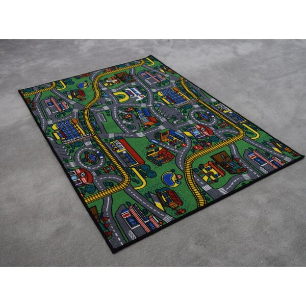 Edgerton Wool Blue/Green Area Rug by Zoomie Kids