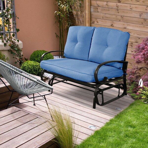 Nyambura Outdoor Patio Rocking Bench with Cushions by Red Barrel Studio