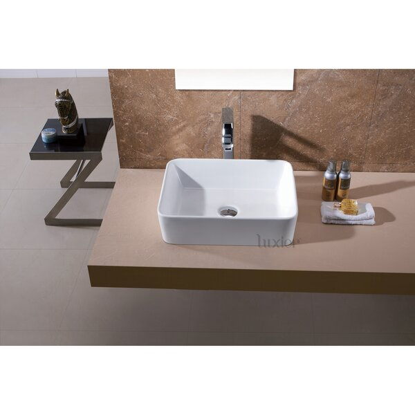 Ceramic Rectangular Vessel Bathroom Sink by Luxier