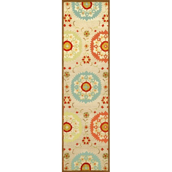 Madge Neutral Suzanie Hand Tufted Wool Beige/Orange/Blue Area Rug by Red Barrel Studio
