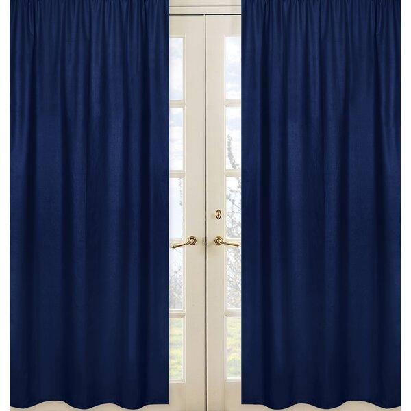 Stripe Collection Navy Blue Semi-Sheer Rod Pocket Curtain Panels (Set of 2) by Sweet Jojo Designs