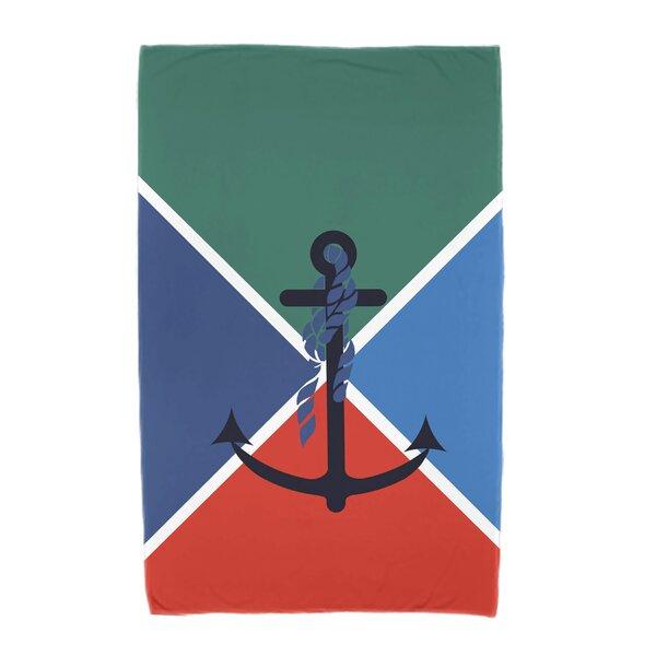 Hancock Anchor Flag Beach Towel by Breakwater Bay