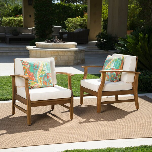 Drage Outdoor Wood Patio Chair with Cushions (Set of 2) by Mistana