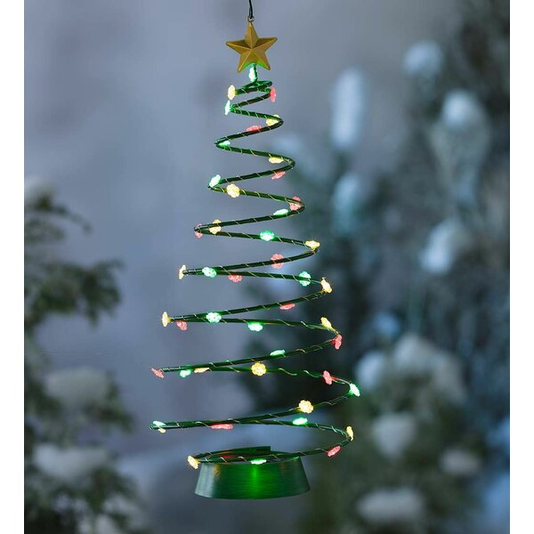 Solar Hanging Christmas Tree Lighted Display by Plow & Hearth