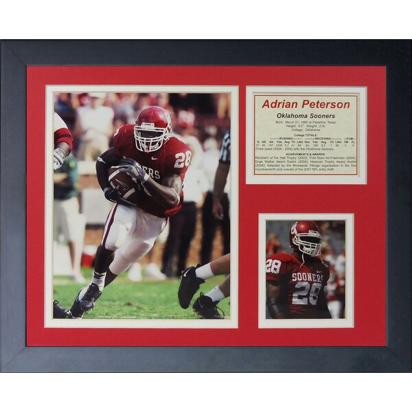 Adrian Peterson - Oklahoma Home Framed Photographic Print by Legends Never Die