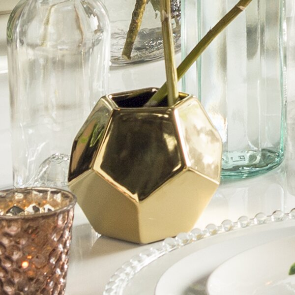 Faceted Silver Ceramic Vase By Dwellstudio.