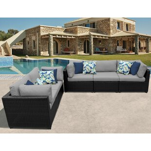 Belle Outdoor 5 Piece Sofa Seating Group with Cushions By TK Classics