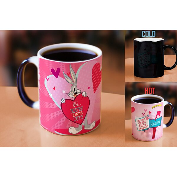 Looney Tunes Bugs Bunny Kinda Cute Valentines Day Heat Reveal Ceramic Coffee Mug by Morphing Mugs