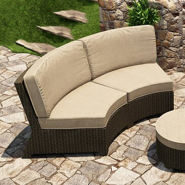 Barbados Curved Sofa with Cushions by Forever Patio