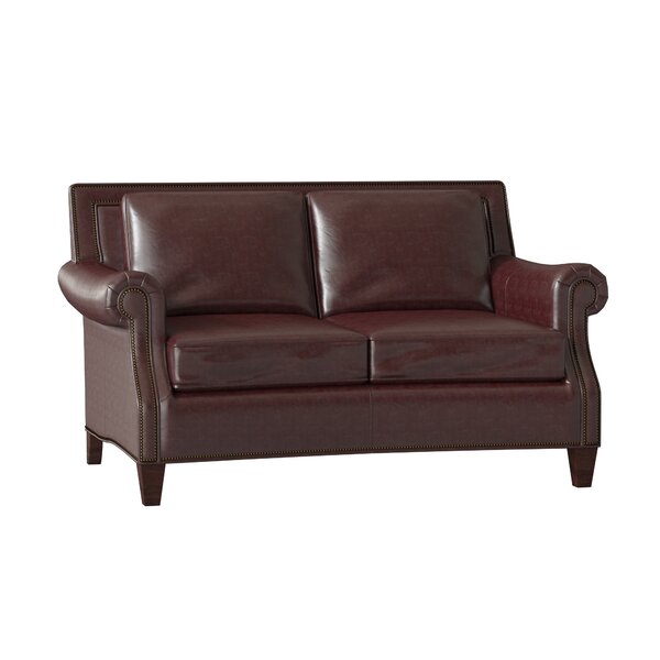 Bates Leather Loveseat By Bradington-Young