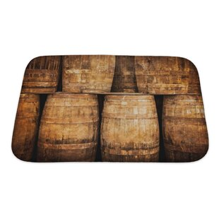 Vintage Stacked Whisky Barrels In Monochrome Style Bath Rug