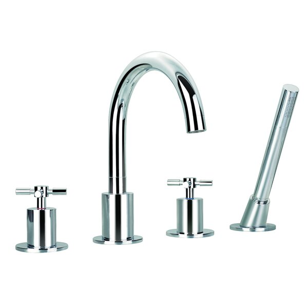 Prima Double Handle Deck Mount Bathtub Faucet with Shower Wand by Ancona
