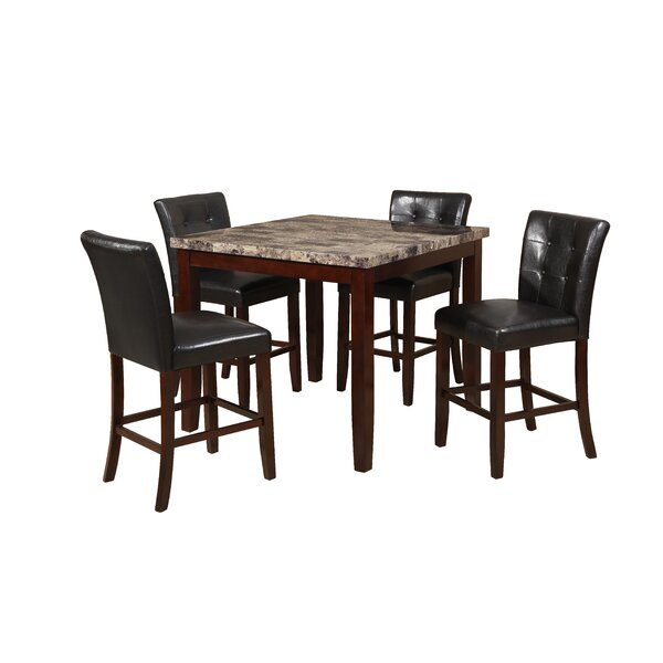 Aldama Faux Marble 5 Piece Dining Set by Red Barrel Studio
