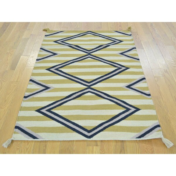 One-of-a-Kind Birdsall Striped Handwoven Wool Area Rug by Isabelline