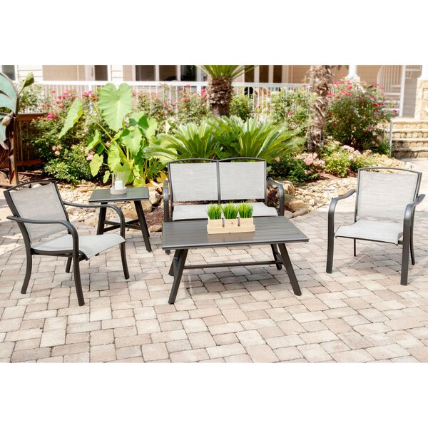 Wrenn 5-Piece Commercial-Grade Patio Seating Set with 2 Sling Chairs Sling Loveseat Slat Coffee Table and 22 inch  Side Table by Charlton Home