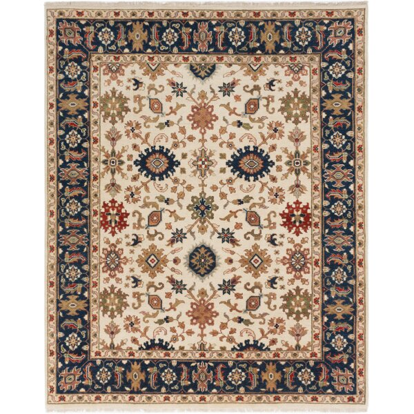 One-of-a-Kind Abbot Serapi Heritage Hand-Knotted Wool Cream/Blue Area Rug by Isabelline