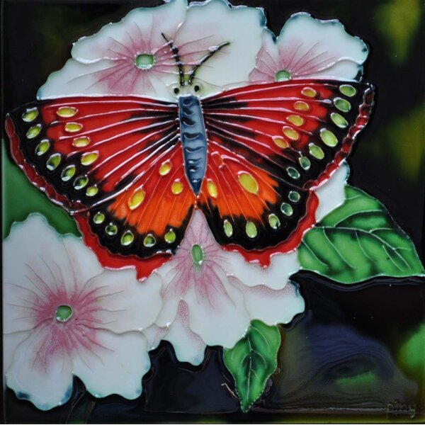 Red Butterfly Flower Tile Wall Decor by Continental Art Center