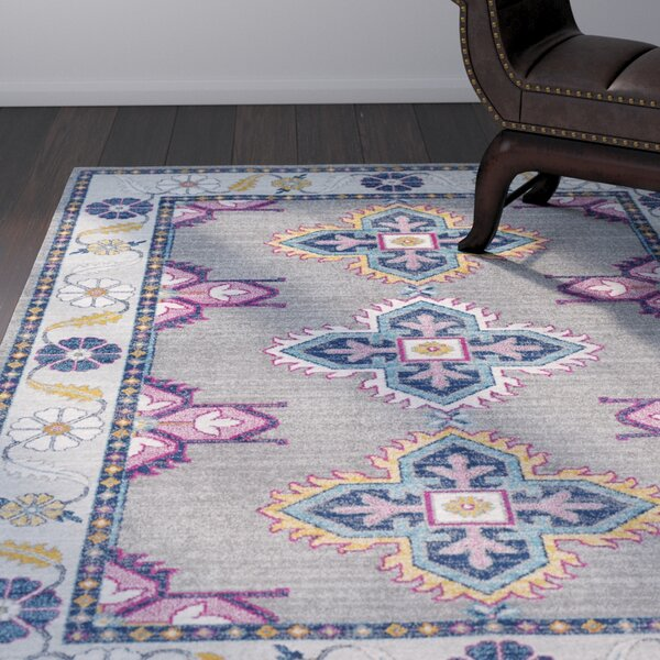 Arteaga Persian Inspired Gray/Blue Area Rug by Bungalow Rose