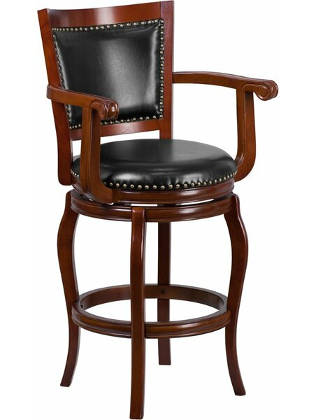 Matheson 30'' Panel Back Swivel Bar Stool by Darby Home Co