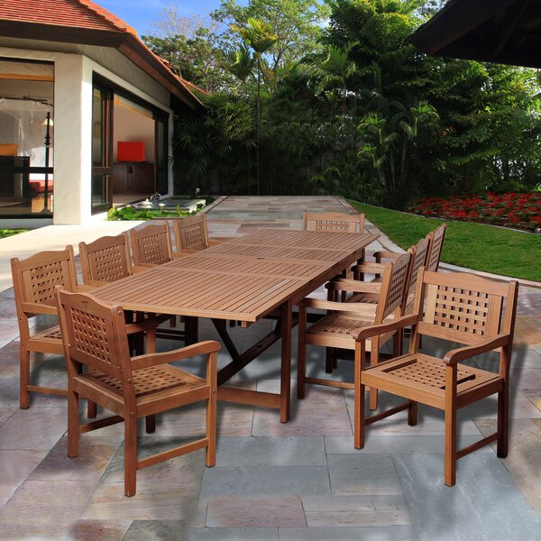 Fernwood International Home Outdoor 11 Piece Dining Set Bayou Breeze W002482377