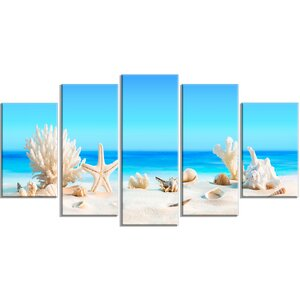 'Seashells on Tropical Beach' 5 Piece Wall Art on Wrapped Canvas Set by Design Art