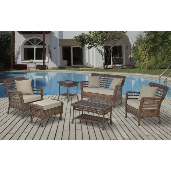 Duhon Faux Sea 6 Piece Rattan Sofa Seating Group with Cushions by Bay Isle Home