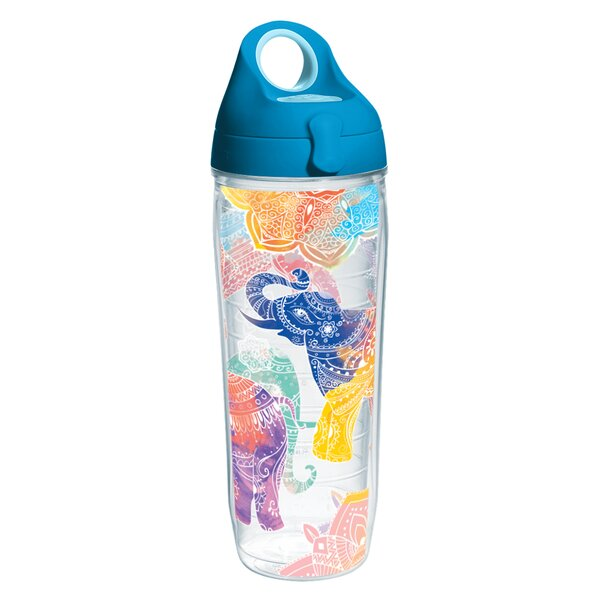 On Trend Colorful Elephants Water Bottle 24 oz. Plastic by Tervis Tumbler