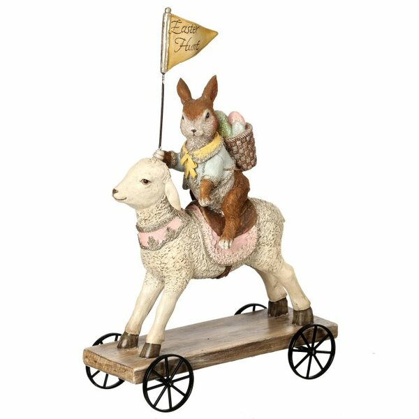 Durrant Vintage Easter Bunny on Lamb Cart Figurine by The Holiday Aisle