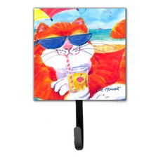 Cool Cat with Sunglasses at The Beach Leash Holder and Wall Hook by Caroline's Treasures