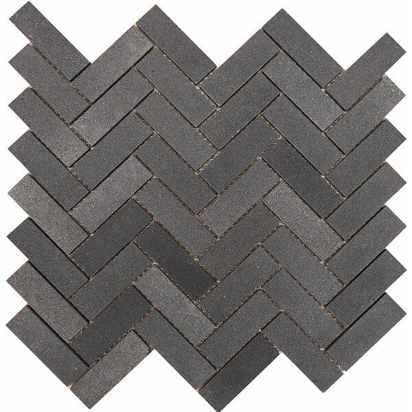 Lava Grande Herringbone 1 x 3 Stone Mosaic Tile in Black by Parvatile
