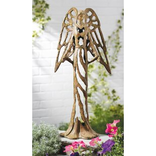 Standing Angel Open Work Design Cranberry Cast Iron Garden Statue