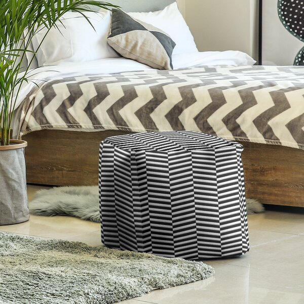 Color Fractured Stripes Cube Ottoman by East Urban Home