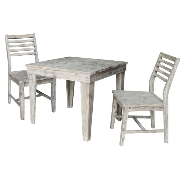 Gallaway 3 Piece Solid Wood Dining Set by Gracie Oaks