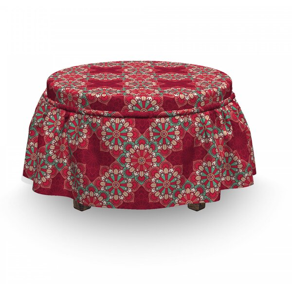 Mandala Round Folk Ornaments 2 Piece Box Cushion Ottoman Slipcover Set By East Urban Home