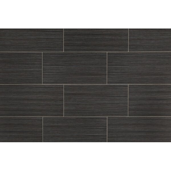 Bamboo 12 x 24 Porcelain Field Tile in Noir Linen by Travis Tile Sales