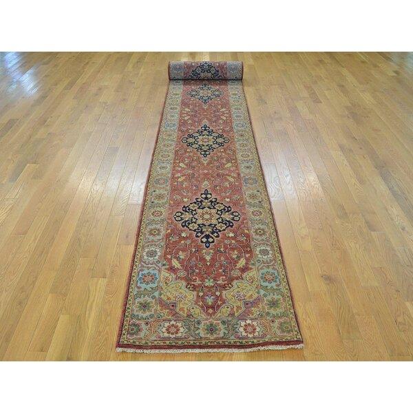 One-of-a-Kind Beason Antiqued Hand-Knotted Red Wool Area Rug by Isabelline