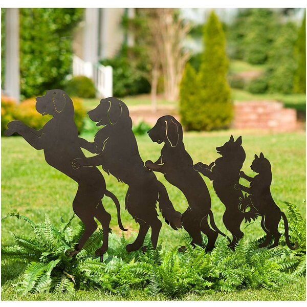 Dog and Cat Conga Line Garden Stake by Wind & Weather
